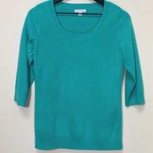 New York & Company Aqua Knit Scoop Neck Sweater